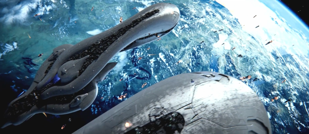 BATTLE FOR EARTH - The Fleet of Sacred Consecration, descending onto the surface during the initial attack on Earth, October 20th, 2552.