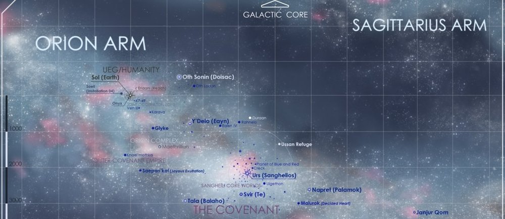 ATTACK ON RAHNELO - A star map of the Orion arm of the Milky Way galaxy, showing Rahnelo in relation to the UNSC controlled territory.