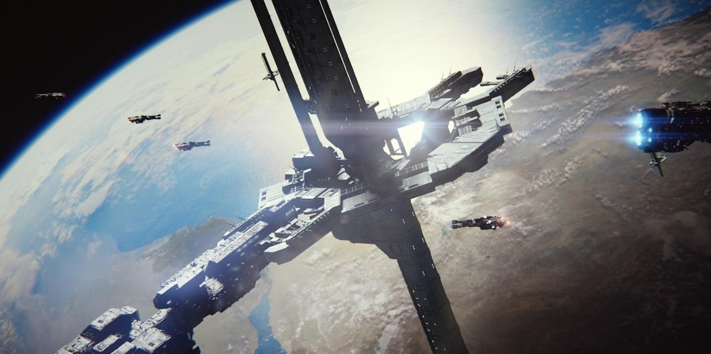 Orbital Defense Platform Cairo Station, part of the defense force orbiting Earth, just prior to the Battle for Earth, October 20th, 2552.  (   Halo 2   )