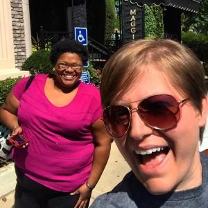 two women outside a restaurant selfie