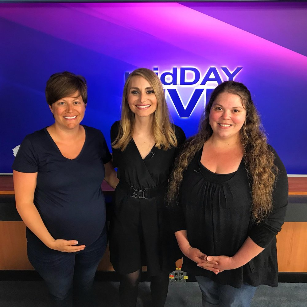 Mary Duke, LCCE with Laura Rogers of WBKO13 and Amanda Woolen, CLC.
