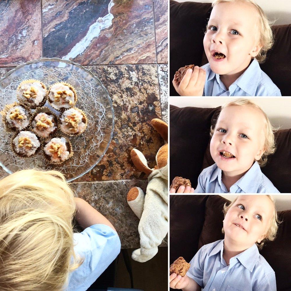 kid enjoying paleo gluten free carrot cake
