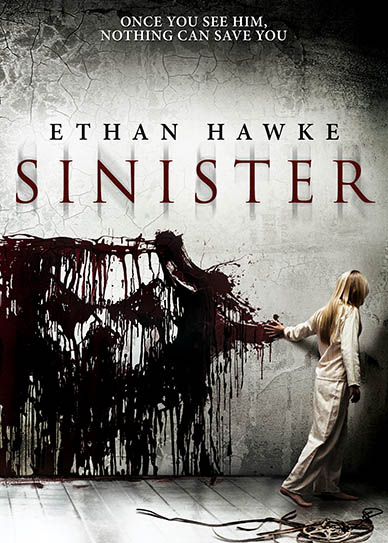 - Sinister is one of the few newer scary movies that I saw in the theater.  The trailer was truly terrifying, I couldn't wait to see it.  My husband and I went with a few co-workers whose wives don't watch scary movies so I felt like I was crashing boys' night out.  And I was the only one who jumped.  I've seen the film 4 or 5 times since then and I still jump in the same spot.  I know it's coming, but I jump anyway - every time.  This film is really low on the blood and gore scale, it contains no nudity and very little profanity.  It is rated R for disturbing content which includes kids - so be warned.