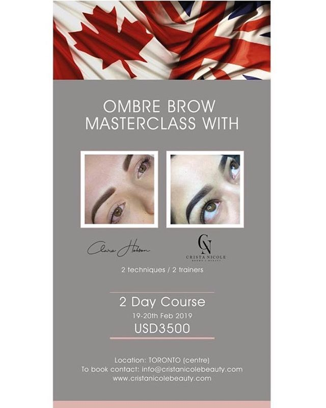 It's getting close! Only a few spots left ❤️❤️❤️ This is a HANDS on class with live demos + live models 👌🏻 @Crista nicolebrows + @claire_j_hobson will be sharing 2 Ombré style techniques. Don't miss out 🤗 email: info@cristanicolebeauty.com for more information 😘 See you all soon!