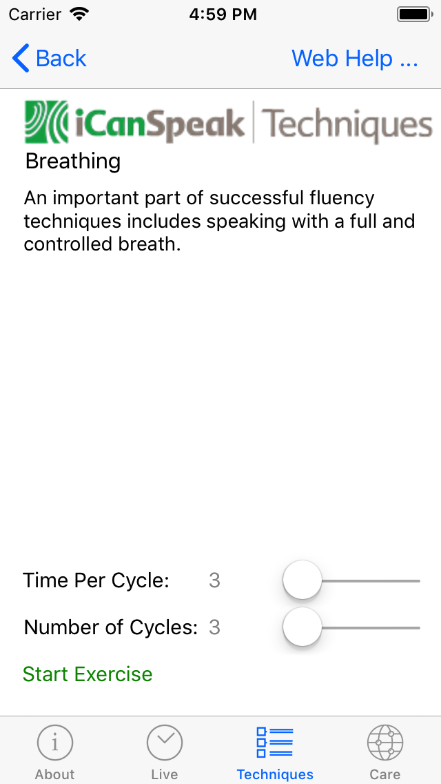 Selection of time per cycle and number of cycles