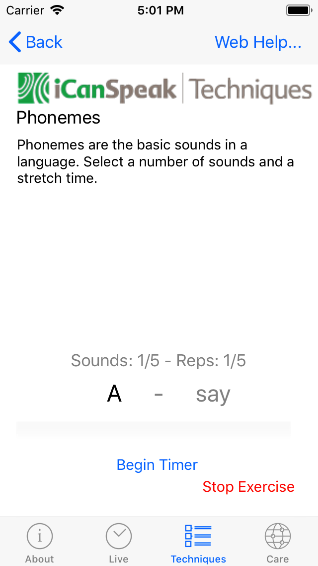 The start of the exercise loop with the phoneme in dark text, and a sample of how that phoneme should be sounded.  The 'Begin Timer' button starts the exercise.