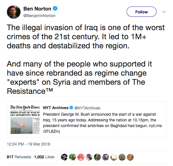 Ben Norton tweets about Iraq