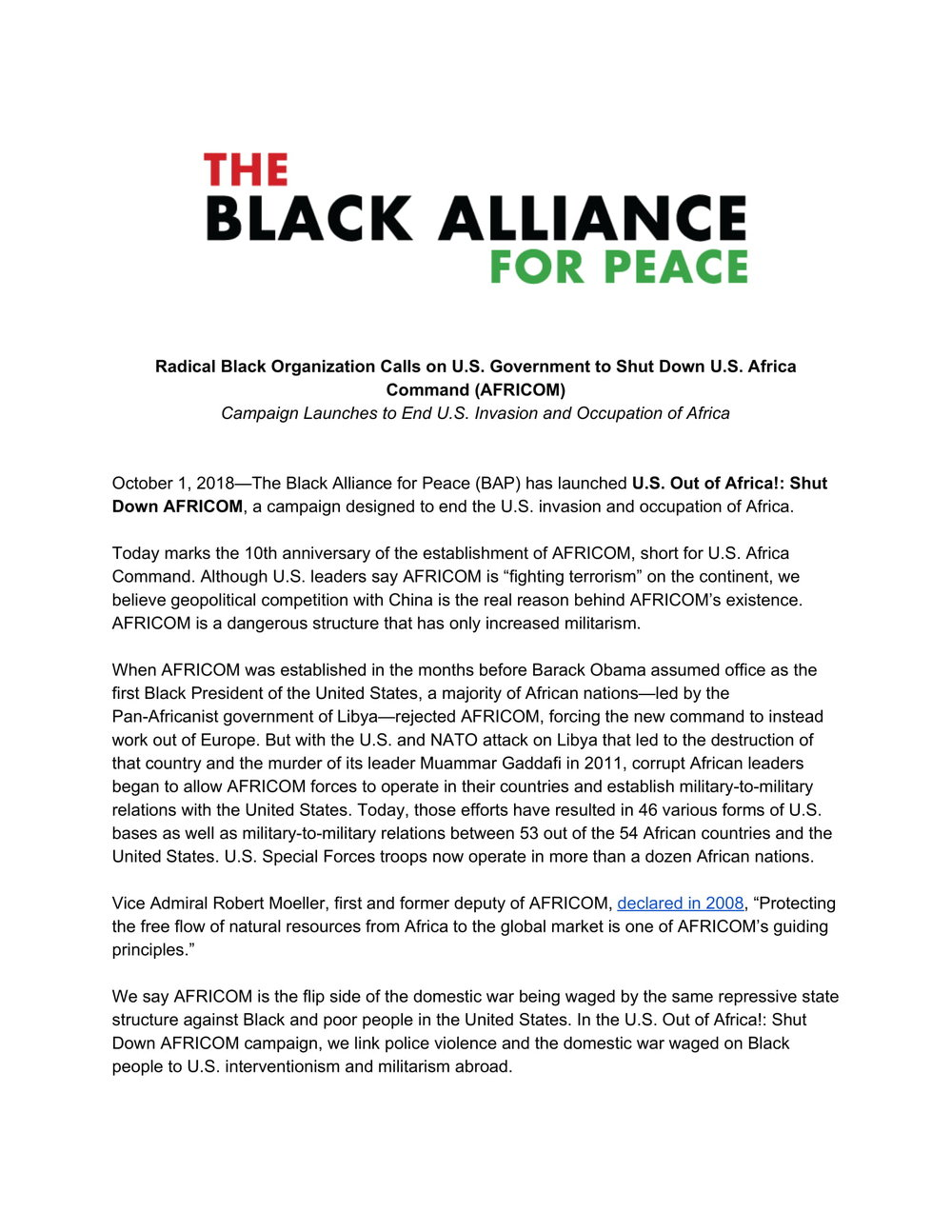 Black Alliance for Peace Calls on U.S. Government to Shut Down U.S. Africa Command (AFRICOM)