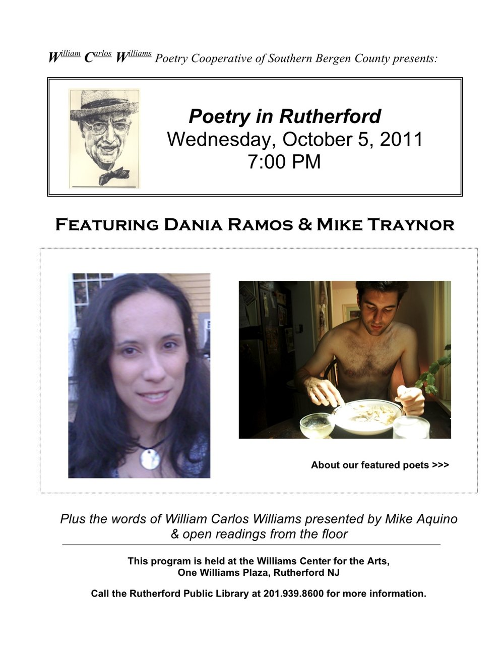 WCW Poetry  Cooperative Reading October 5, 2011 [Flyer]