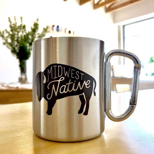 Carabiner clasp camp cup. Say that five times fast... or maybe just snag one for your next campfire. . Link in bio. . #midwest #midwestern #buffalo #bison #native #midwestnative #camping #camp #carabiner #coffeemug #mug #shoplocal