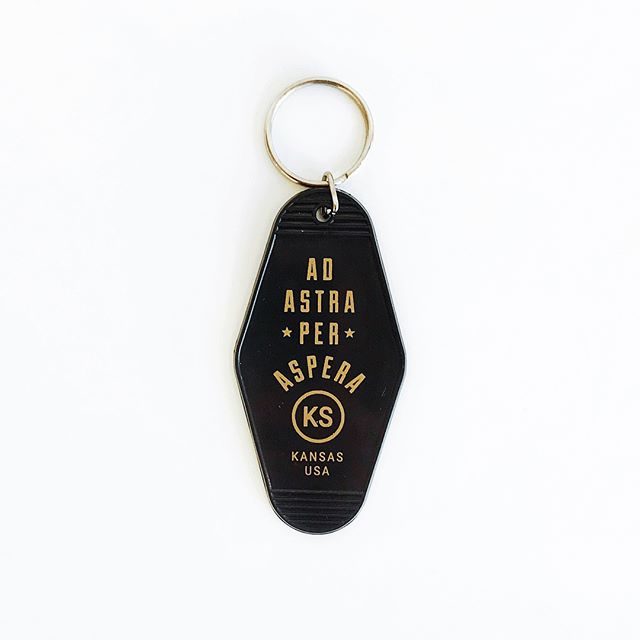 Classic motel keytags printed up with some Midwest goodness. Now online and in-store at @acmegift! . . #keytag #keychain #moteltag #kansas #midwest #shoplocal #adastra #design #midwestmade  #graphicdesign #nocoast