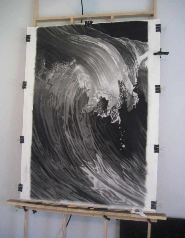 """Breaking Wave""  Charcoal on paper, 30""x 46"""