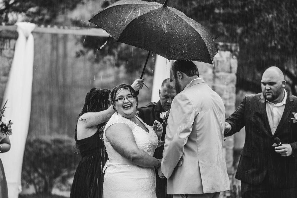 Wedding Ceremony Outdoors in the rain