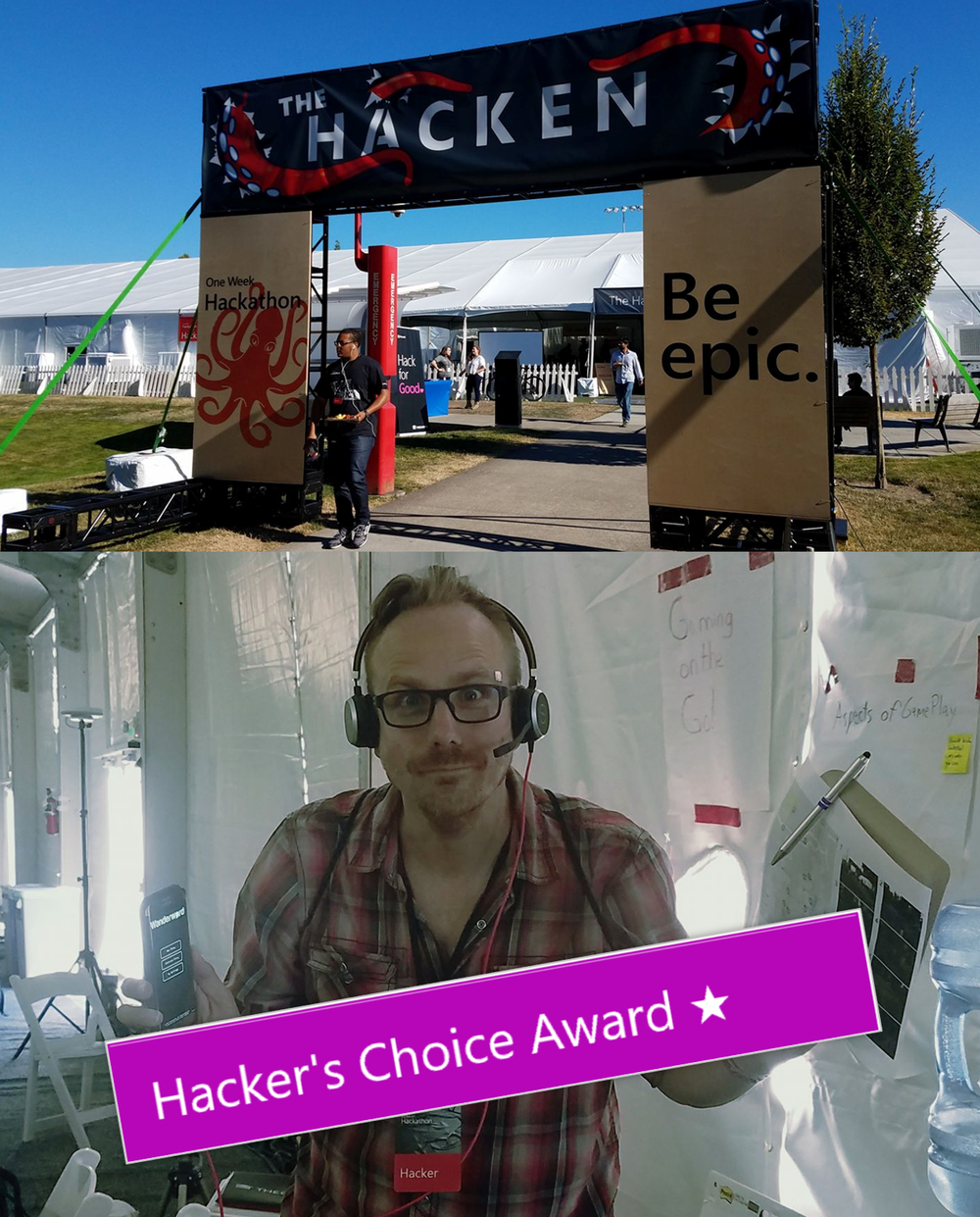 Inclusive Gaming @ Hackathon - July 25th 2017I'm very proud to represent and work for Microsoft. Not only in my 'heads-down' daily work on the Xbox team, but even more so as an employee of the company all-up. I get to work with incredibly smart people who believe and thrive in empowering people around the world to achieve more. It was a privilege and a pleasure to lend out and contribute with Wanderword during the company's week-long Hackathon event last week. Together with esteemed colleagues from various divisions, we experimented with geo-location based gameplay with Inclusive Gaming as our primary goal. We achieved our goals and turned Microsoft east campus into a game world that could be discovered through speech and location based interaction.