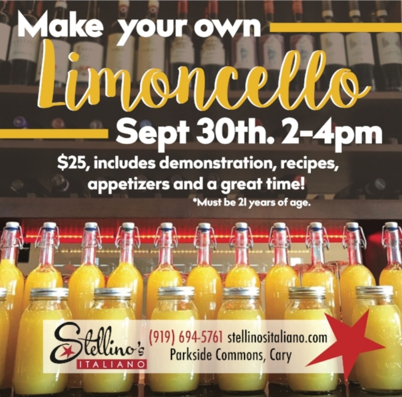 Limoncello Class & Tasting at Stellino's on September 30th from 2-4pm. For more info  CLICK HERE