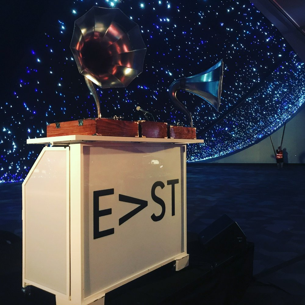 Phonographs - Imported from America - these replica cygnet phonograph horns are paired with modern turntables. Boxes are hand built and available in both pallet wood and walnut to match the environment. Pictured here atop a branded LED lectern at opening for the new Adelaide Convention Centre East Wing.