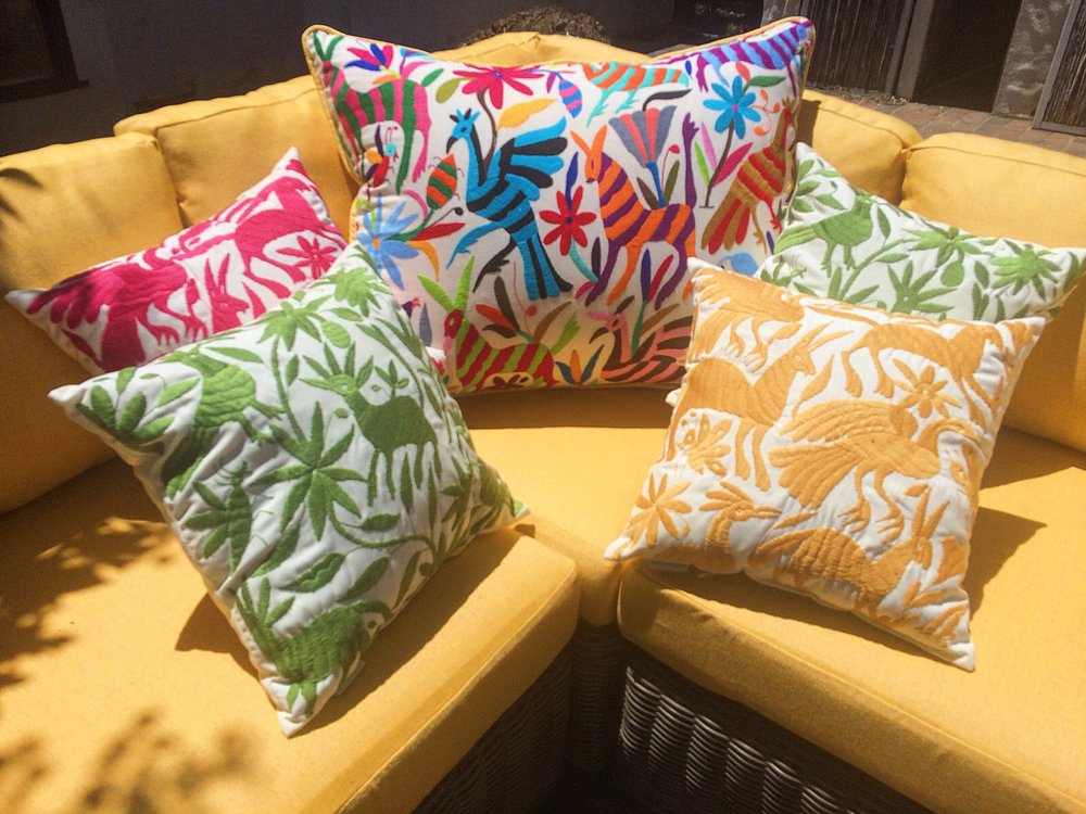 outdoor custom cushions and custom fLORAL SUNBRELLA pillows