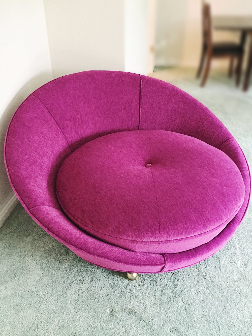 re-upholstered chair & cushion