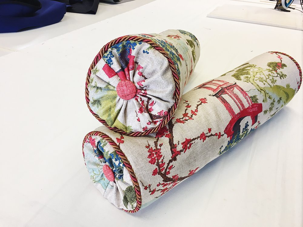 custom BOLSTER pillows with cording