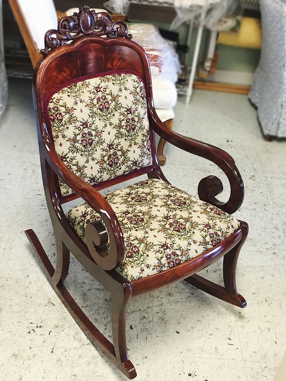 re-upholstered rocking chair