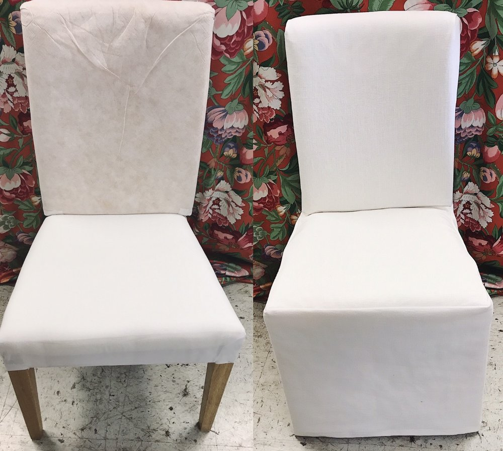 Dining chair slipcover (Before & After)