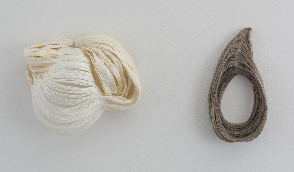 linen thread sculptures [beeswax, wire]