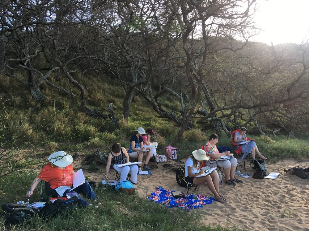 The group sketching at Kepuhi Beach.