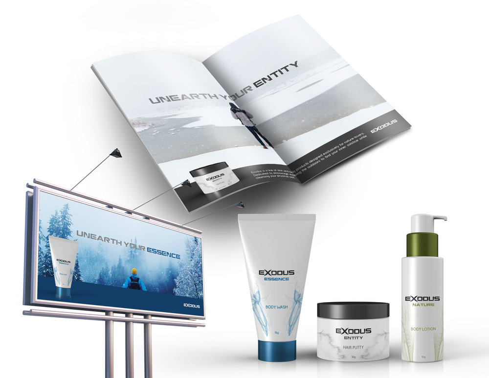 Packaging, magazine ad and billboard design for Exodus.