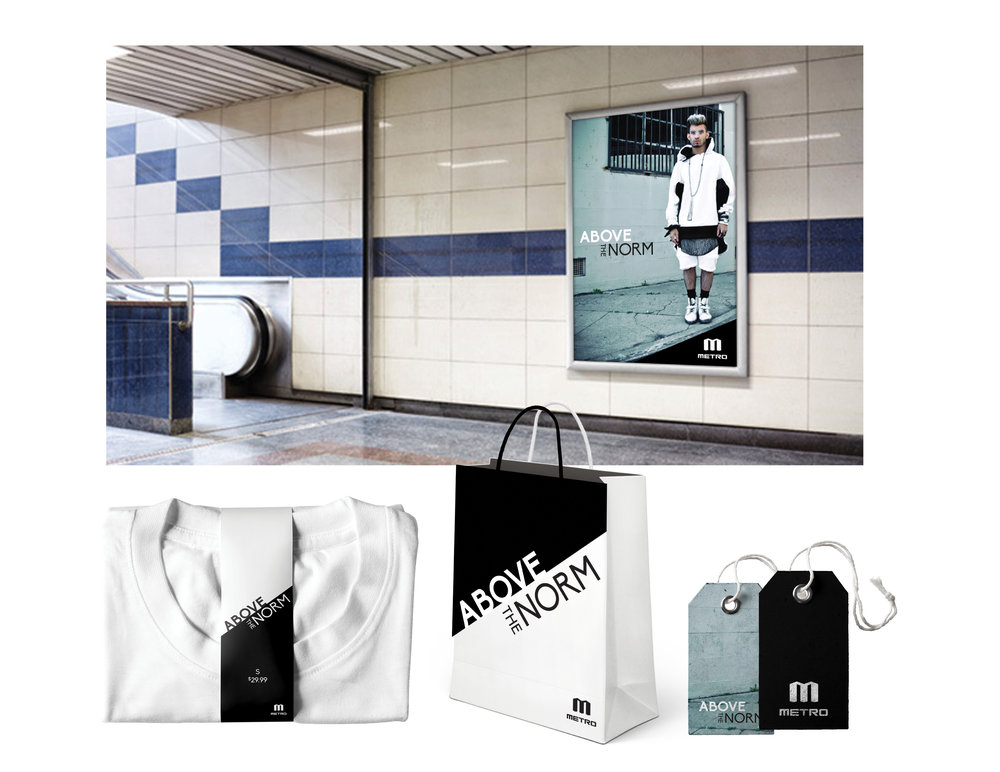 Ad and brand identity for the clothing line Metro.