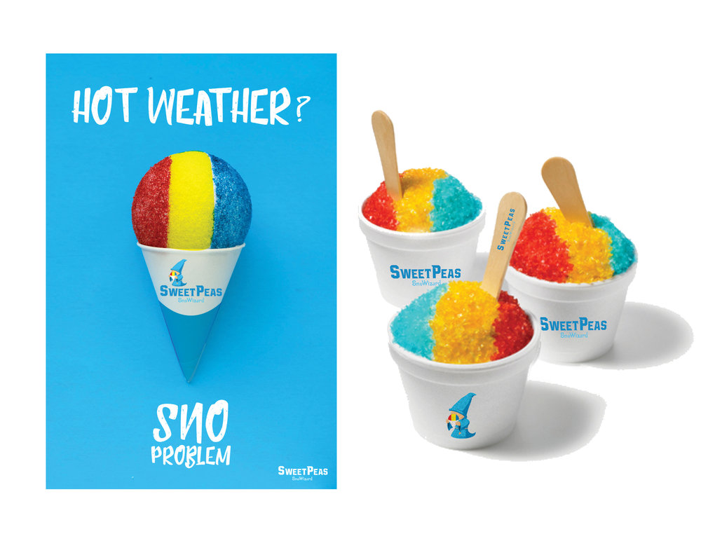 Social media ad and packaging design for client Sweet Peas Sno Wizard.