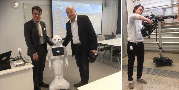 Bild. Ane Ahnger och Klas Blomqvist med humanoiden Mili och Svein-Inge Ringstad demonstrerar en 3D avläsare.