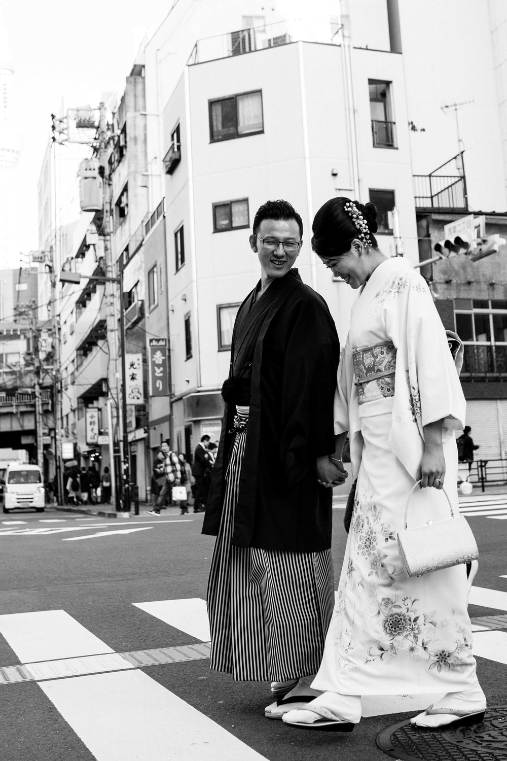 B&W prenup photo shoot (Asakusa)