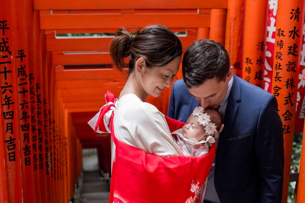 Shrine visit with a newborn (Omiya mairi)