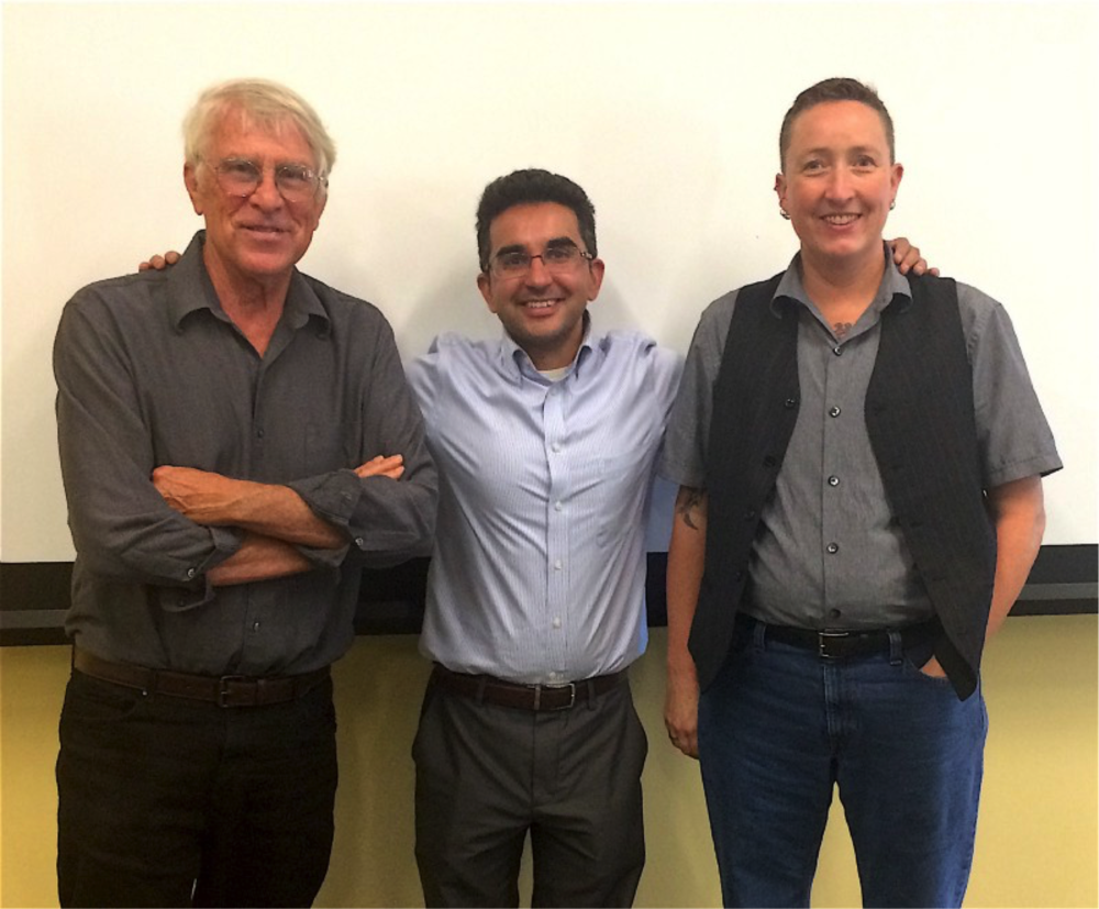 UC Santa Barbara Global Studies professor Mark Juergensmeyer, left, Claremont McKenna College Religious Studies professor Jamel Velji, center, and UC Riverside Religious Studies professor Melissa Wilcox, right.
