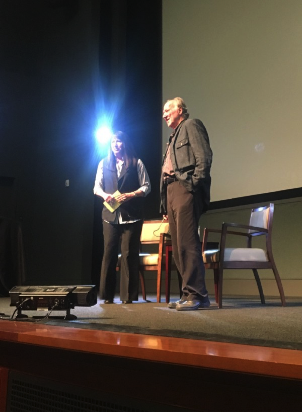 Patrice Petro, left, director of UCSB's Carsey-Wolf Center, and filmmaker Werner Herzog, arrive on the Pollock Theater stage, to roaring audience applause.