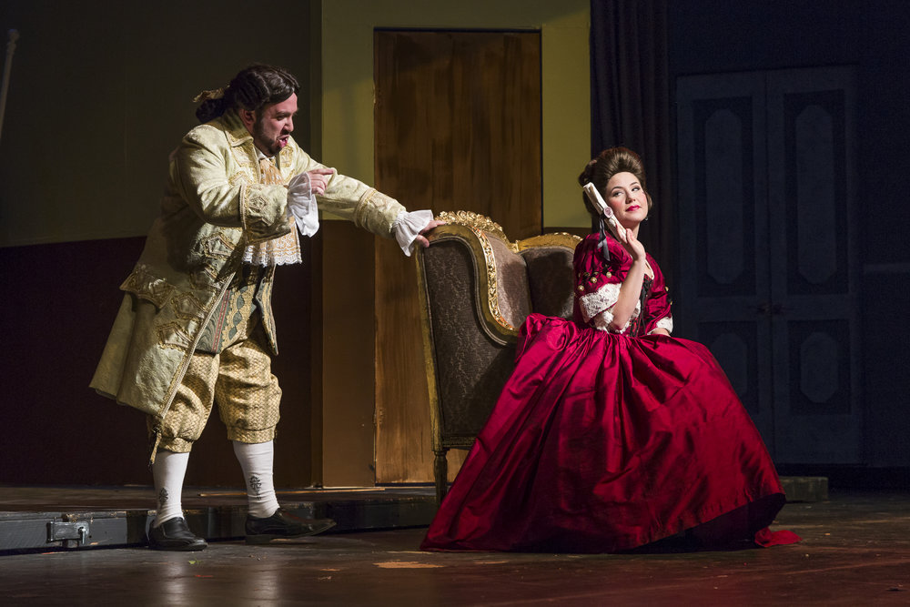 Scott Levin, left, as Doctor Bartolo and Molly Clementz as Marcellina.  (Photo by Matt Perko)