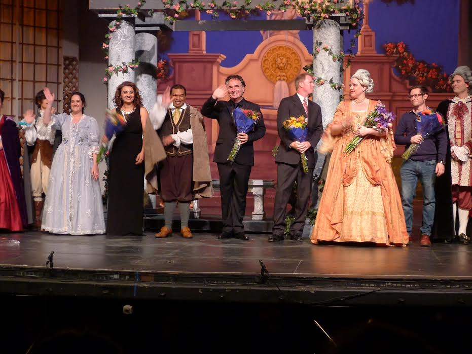 Taking their curtain call Thursday evening were (left to right ) Naomi Merer (Susanna}, Isabel Bayrakdarian(Stage Director), Byron Mayes (Figaro), Kostis Protopapas (Conductor), Benjamin Brecher (Music Director/Producer), Julie Davis (Countess Almaviva), Ben Crop (Lighting Designer) and Tyler Reece (Count Almaviva).  ( Photo by Timothy Teague)