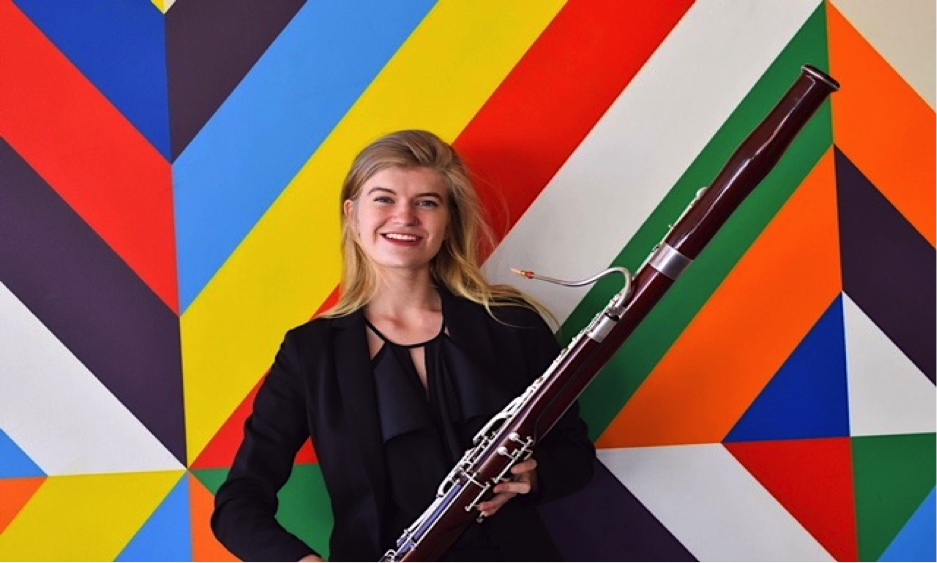Claire Garvais poses with her bassoon at UC Santa Barbara. (Photo provided by Claire Garvais)