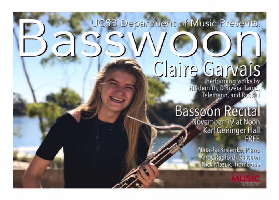 Garvais holds her bassoon in a poster for her solo recital in November 2017. (Photo provided by Claire Garvais)