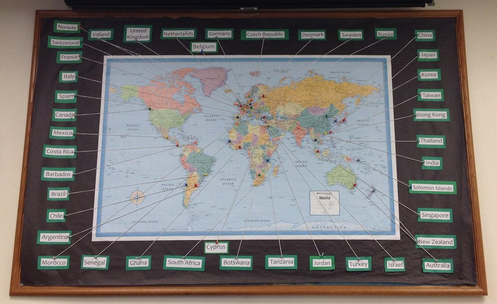 A map at the EAP office showing UCSB's study abroad programs all over the world