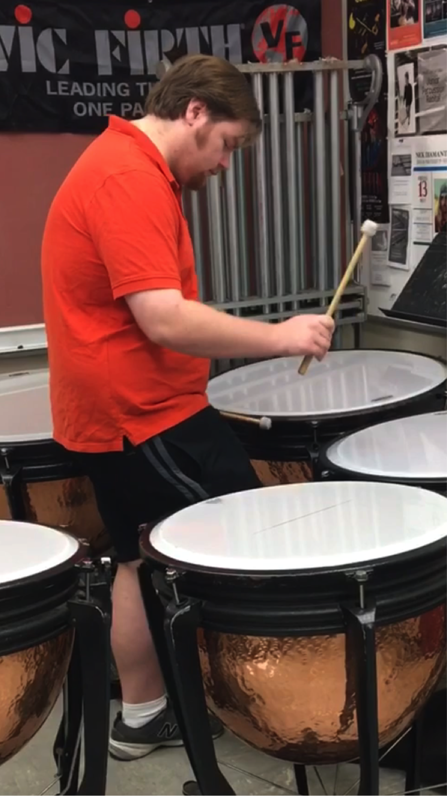 Zac Erstad plays one of his pieces from an earlier performance on the Timpani, in a practice room in the Lotte Lehman Hall.