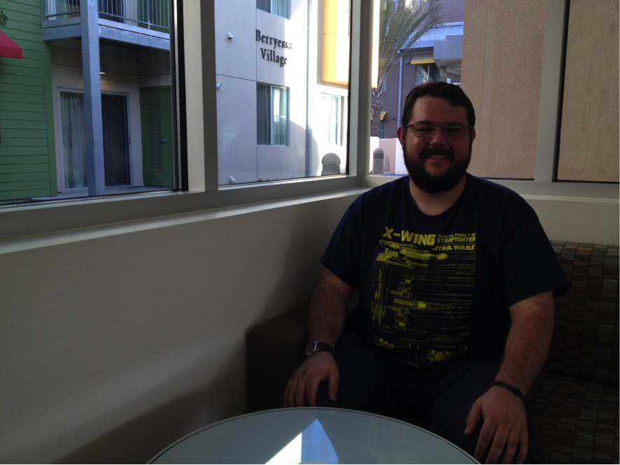 Fourth year UCSB student Nicholas Wagenseller poses for the camera in Sierra Madre Village.