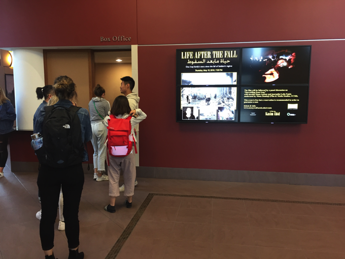 """Students waiting in line for tickets to see """"Life After the Fall"""" at Pollock Theater. The event was free of charge and welcomed people from the Santa Barbara community."""