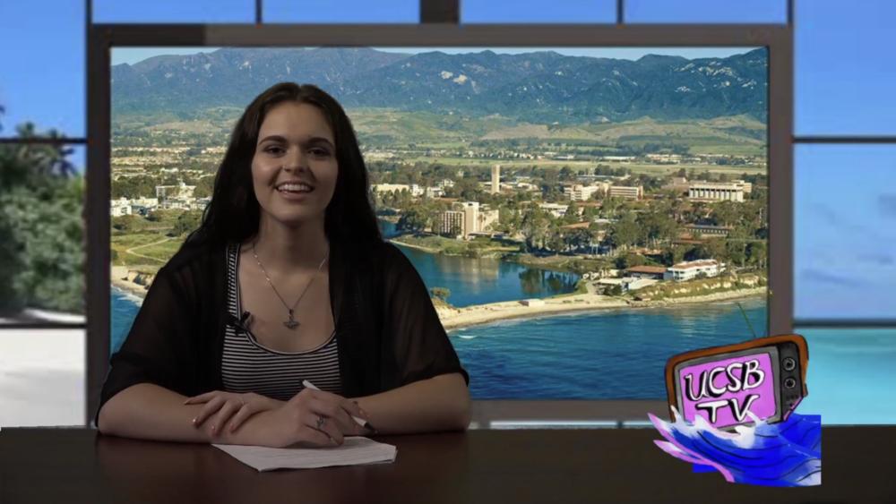 Kelisha Abad speaks for the UCSB TV cameras.