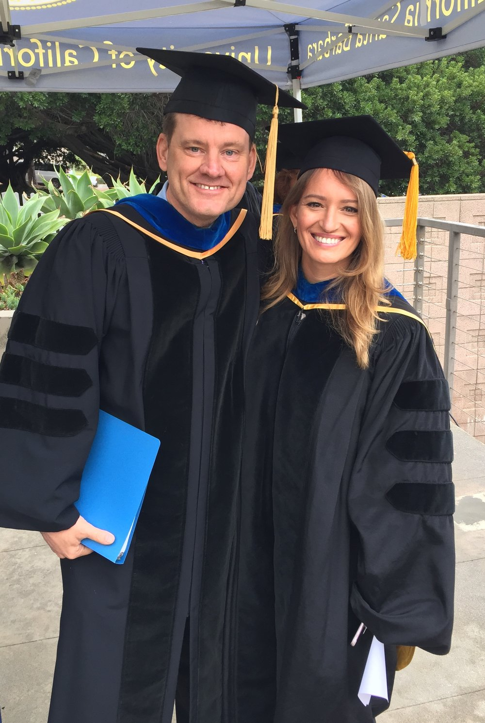 Humanities and Fine Arts Dean John Majewski, left, with Commencement 2018 speaker Katy Tur, a news anchor at MSNBC and a 2005 UC Santa Barbara philosophy alum.