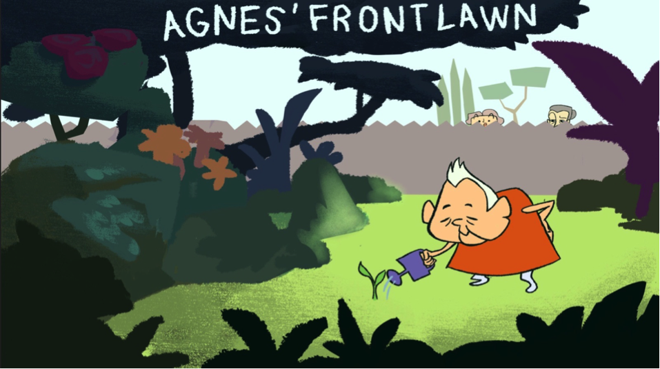 """Agnus' Front Lawn,"" the animated short Michelle premiered last winter in the Pollock Theater."