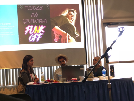 "Graduate students Raquel Rojas, Allen Mangaña and Ana Caroline Moreno presented their research for their thesis projects to a panel during the ""Feminicide and Violence Against LGBTQ Communities"" discussion at the Latin American and Iberian Studies Graduate Conference."