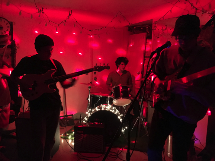 Surf punk band Fake Tides play at the house show on Dec. 18, 2015.