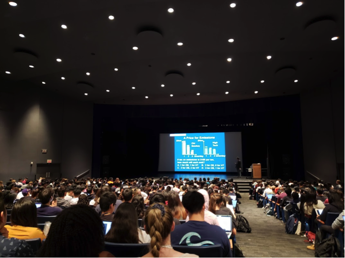 Campbell hall at UCSB: A popular Econ class can hold as many as 860 students.