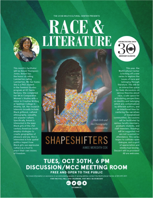 Pictured above is the month of October's flier for the Race and Literature Event (mcc.ucsb.edu).
